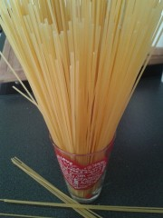 Foto: Spaghetti in einem Glas