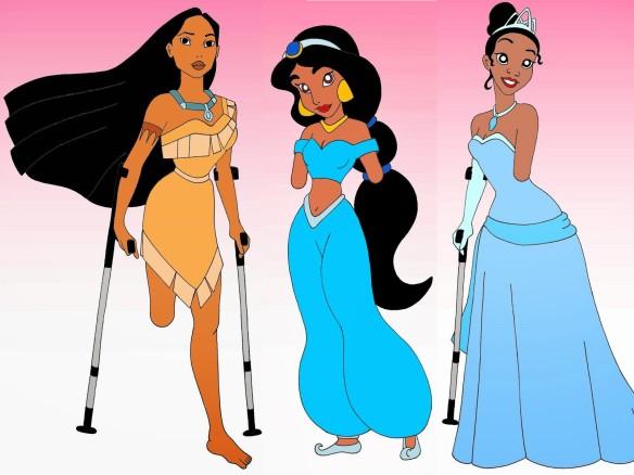 Foto: Pocahontas, Yasmin und Tiana mitfehlenden Gliedmaßen