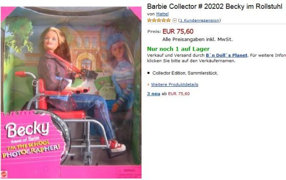 Foto: Screenshot der Rollstuhl-Barbie bei Amazon