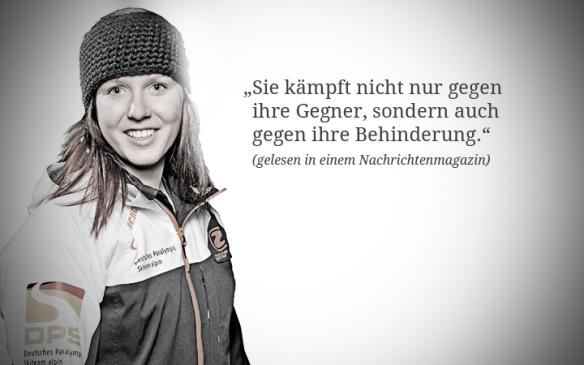 """Foto: Andrea Rothfuss: """"Sie kämpft nicht nur gegen ihre Gegner, sondern auch gegen ihre Behinderung."""" (gelesen in einem Nachrichtenmagazin)"""