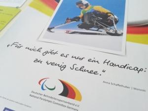 """Foto: Zitat von Anna Schaffelhuber: """"Für mich gibt es nur ein Handicap: zu wenig Schnee."""""""