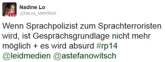 Foto: Screenshot eines Tweets zum Vortrag von Anatol Stefanowitsch