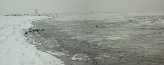 Foto: Vereiste Ostsee und Schnee am Strand