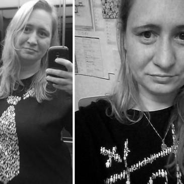 Foto: Zwei Selfies von mir, die mich in Shirts von inkluWAS zeigen