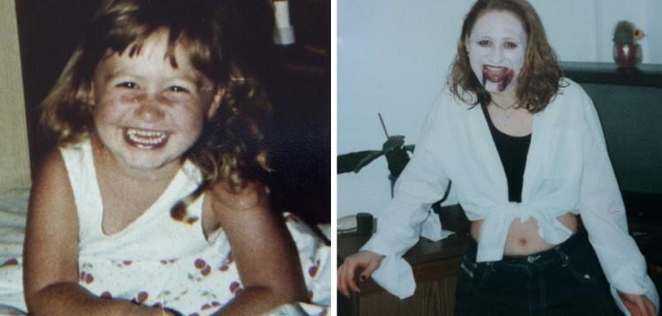 Foto: Collage mit einem Kinderbild und einem als Teenager, auf beiden lache ich in die Kamera
