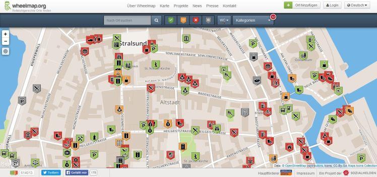 Foto: Screenshot der Wheelmap-Einträge für die Stralsunder Altstadt