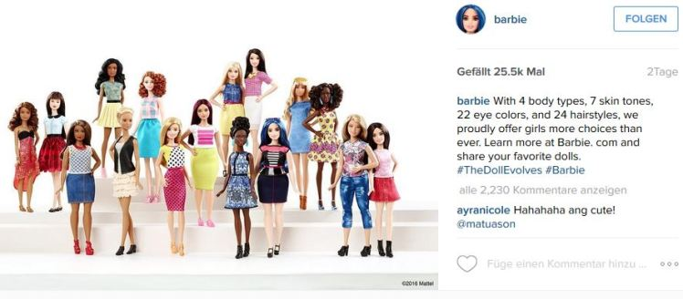 Foto: Screenshot vom Instagram-Foto der neuen Barbie-Figuren