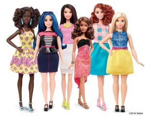 Foto: neue Barbie-Puppen mit unterschiedlichen Körperformen, Körpergrößen und Hautfarben