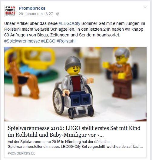Foto: Screenshot vom Facebook-Post von Promobricks, der den Lego-Rollstuhlfahrer zeigt